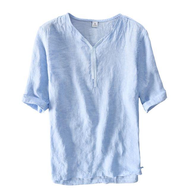 V Neck Design 100 Linen Shirts Men Brand Clothing Men Shirt Summer Casual Shirt Mens Blue Fashion Shirt Linen Shirt Men Casual Summer Shirts Mens Fashion Coat