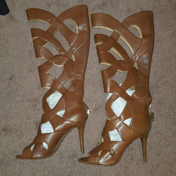 Nine West Cognac Caged Peep Toe Knee Boots 10 9.5 Worn but in excellent condition.  No box. Size 10 but runs small. Best for a 9.5. Nine West Shoes Heeled Boots