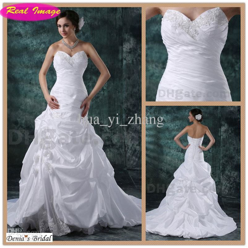 Wholesale A Line Curved Sweetheart Wedding Dresses Beaded Lace