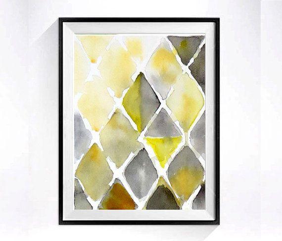 Abstract Watercolor Art PRINT / Mid century modern / Geometric ...