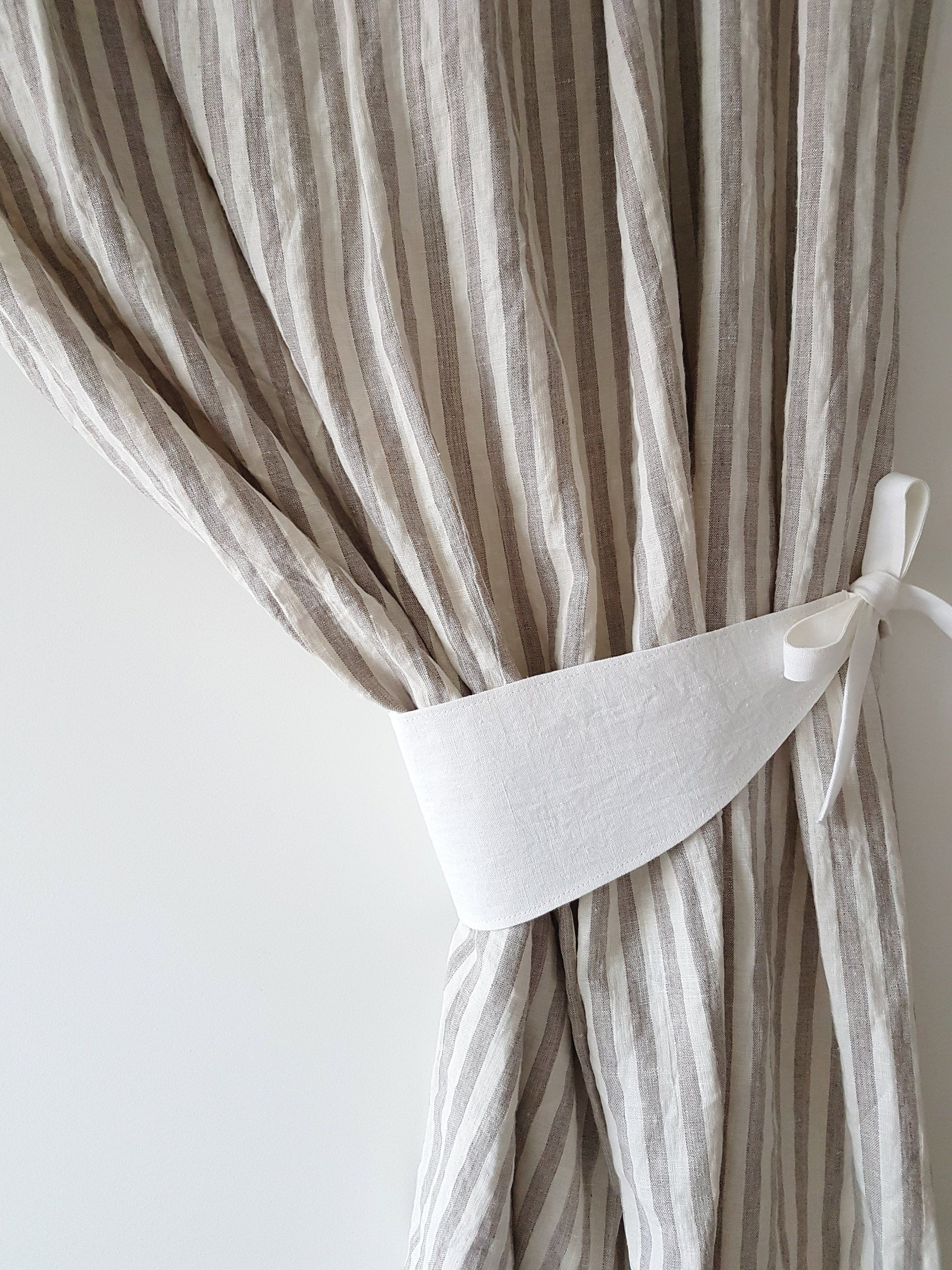 Curtain Tie Back Linen Curtains Holder Shabby Chic Curtains Organic Curtains Linen Drapes Shabby Chic Bathroom Curtain Holder