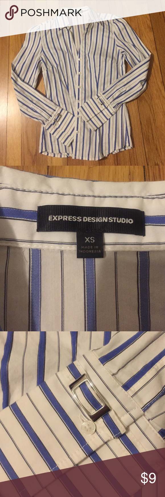 Express button down shirt XS Express design studios blue and white button down shirt size XS, fitted style, metal detail on sleeves, gently worn and washed once. Express Tops Button Down Shirts