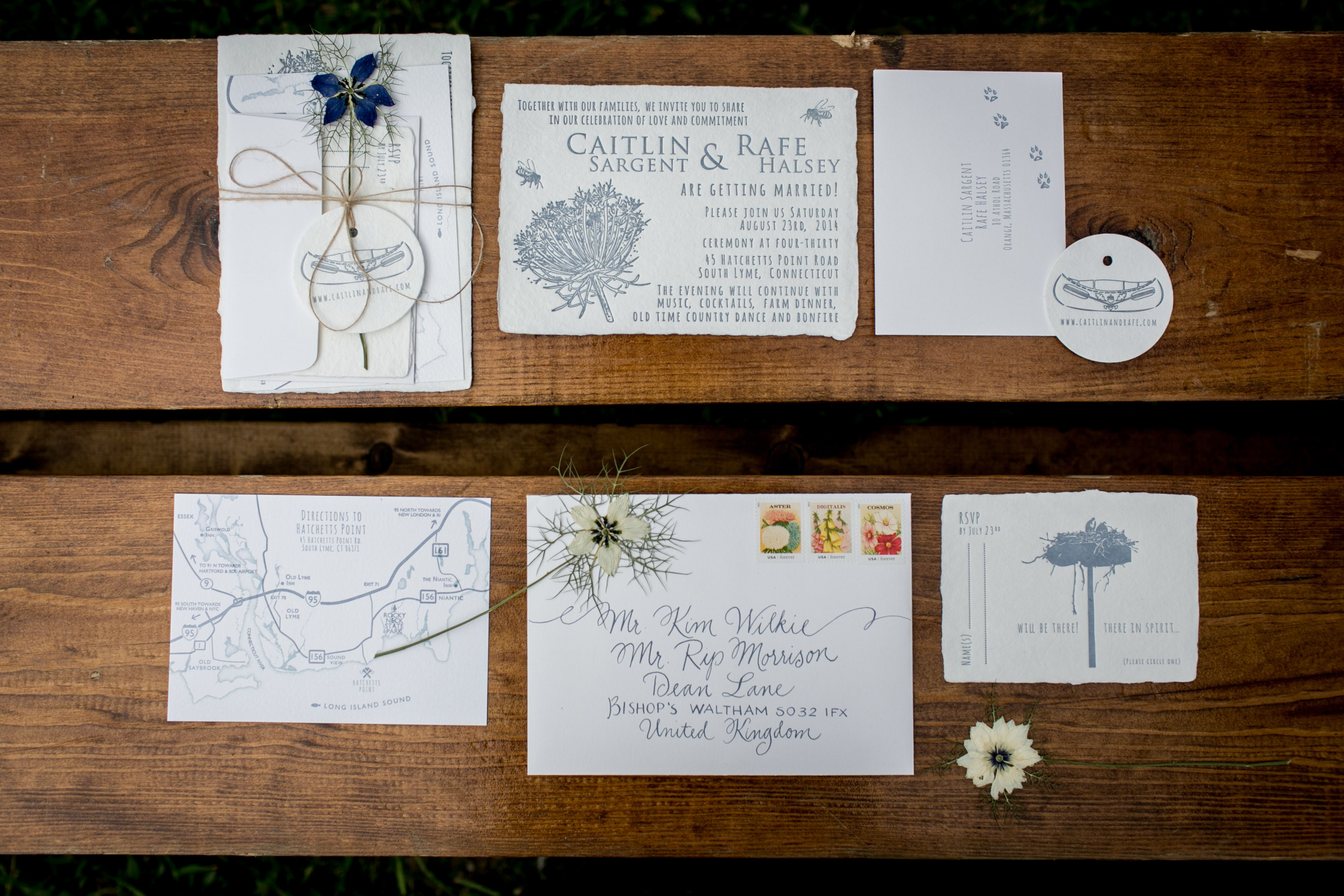Wedding Invitation: Lion in the Sun. Oblations Papers.Tented wedding, Private Residence. Wedding Planning: Ashley Douglass Events, Photography: Brookelyn Photography, Flowers: Hana Floral Design, Tent: Sperry Tents, Catering: A Thyme To Cook, Invitations and Day of Paper: Lion in the Sun,  Hair and Make up: Upstyle, Rentals: Party Rental LTD., Furniture: Sassafras Vintage Rentals.