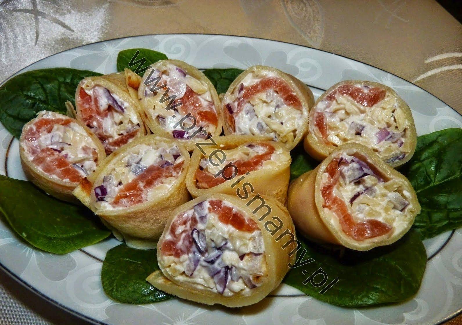 www.przepismamy.pl: Roladki naleśnikowe z łososiem