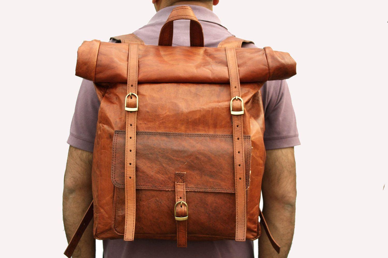 leather roll top backpack rucksack light brown. Black Bedroom Furniture Sets. Home Design Ideas