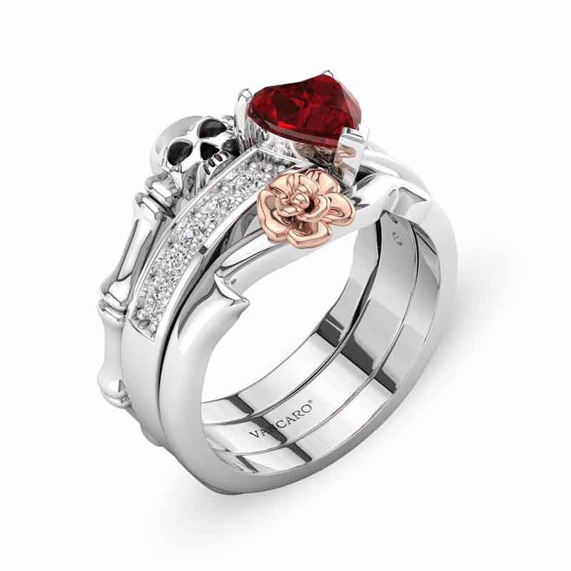 87d034bdfa3ece Enhancer Ring Set With Ruby Heart Stone Skull Engagement Ring Set in ...