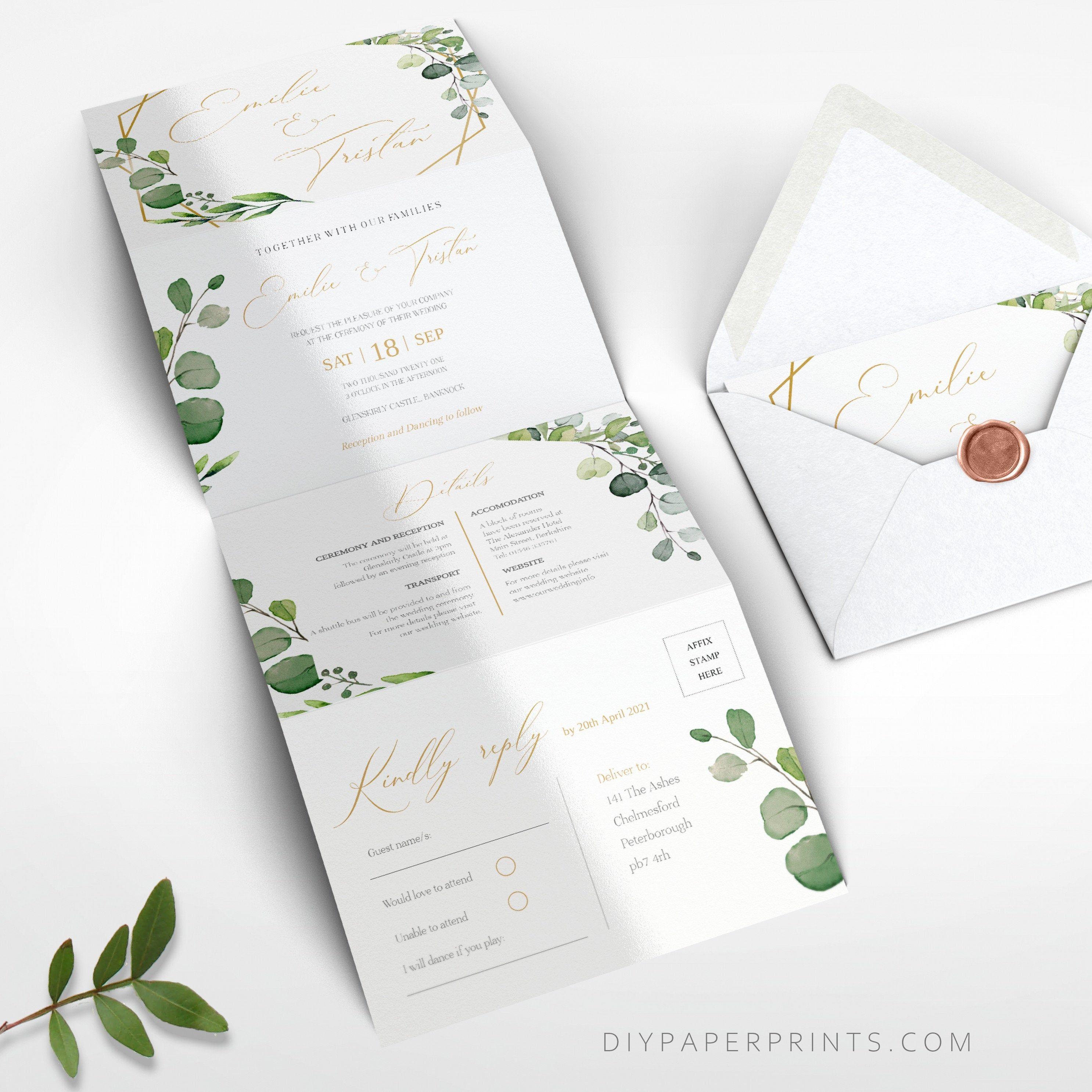 Greenery Wedding Invitation Template Concertina Invite Tri Fold Accordion Fol Wedding Invitation Templates Wedding Invitations Greenery Wedding Invitations