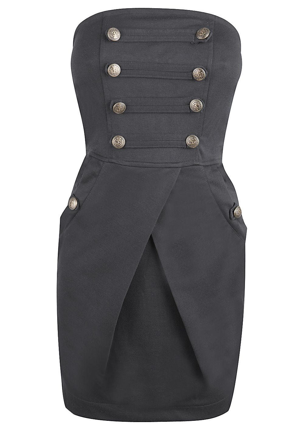 Black Military Style Bandeau Dress