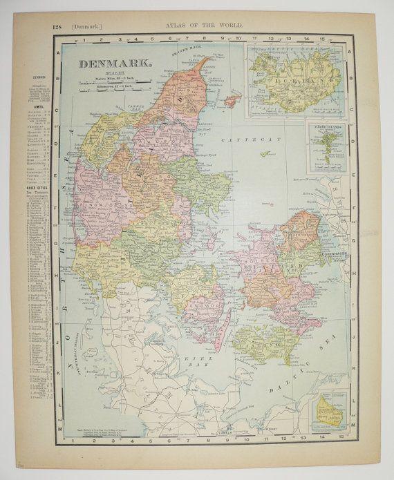 Vintage Denmark Map, Iceland 1901 Original Antique Map, Danish Decor - new antique world map images