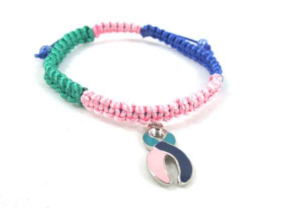 Thyroid Cancer Awareness Bracelet Macrame By