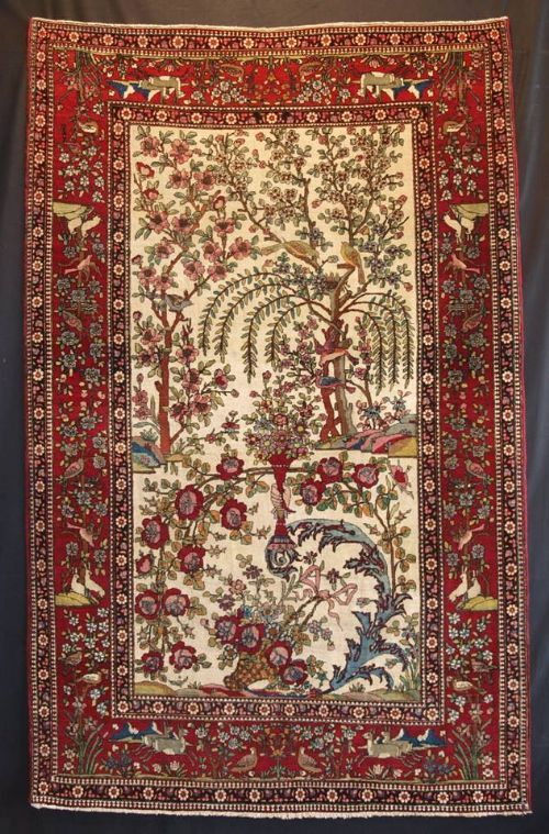 Antique Persian Isfahan Rug Paradise Garden Design Birds Animals Tree Of Life Circa 1900 Size 7ft 4i Persian Art Painting Rugs On Carpet Persian Pattern