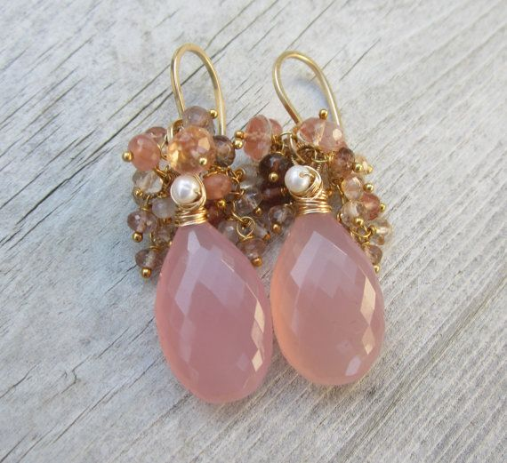 AAA Pink Chalcedony Earrings with Gemstones  Gold by LeanneDesigns