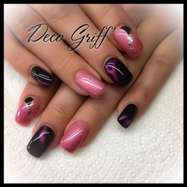 ongle plein rose et noir nail art ongle deco griff 39 pinterest ongle deco ongles et roses. Black Bedroom Furniture Sets. Home Design Ideas