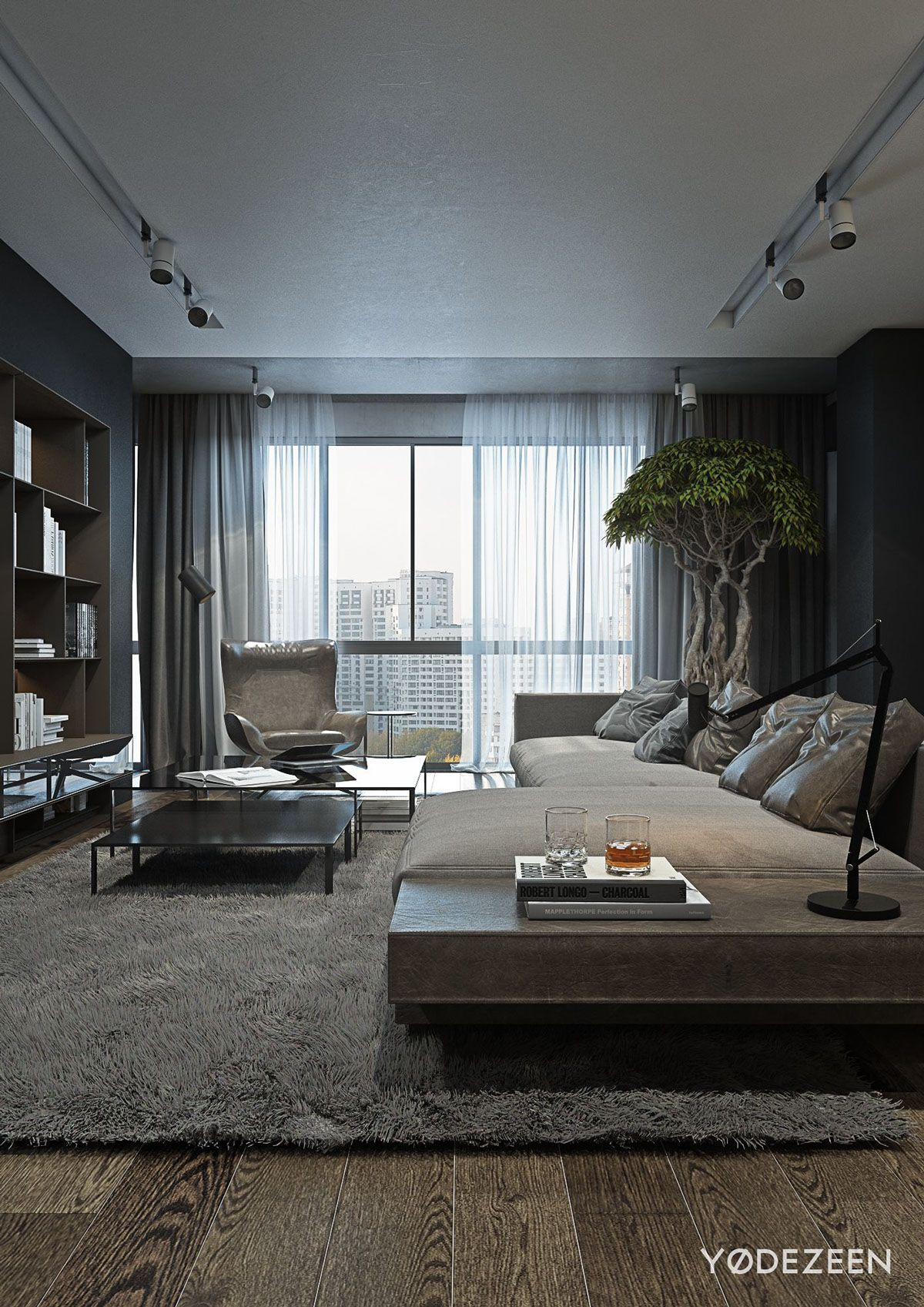 Natural Living Room Design Ideas: A Dark And Calming Bachelor Bad With Natural Wood And