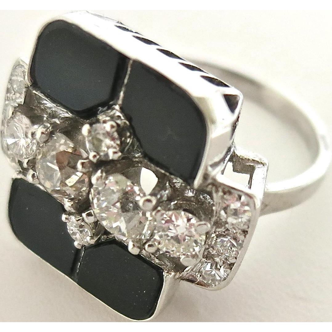 Platinum, Diamond & Onyx Art Deco Ring