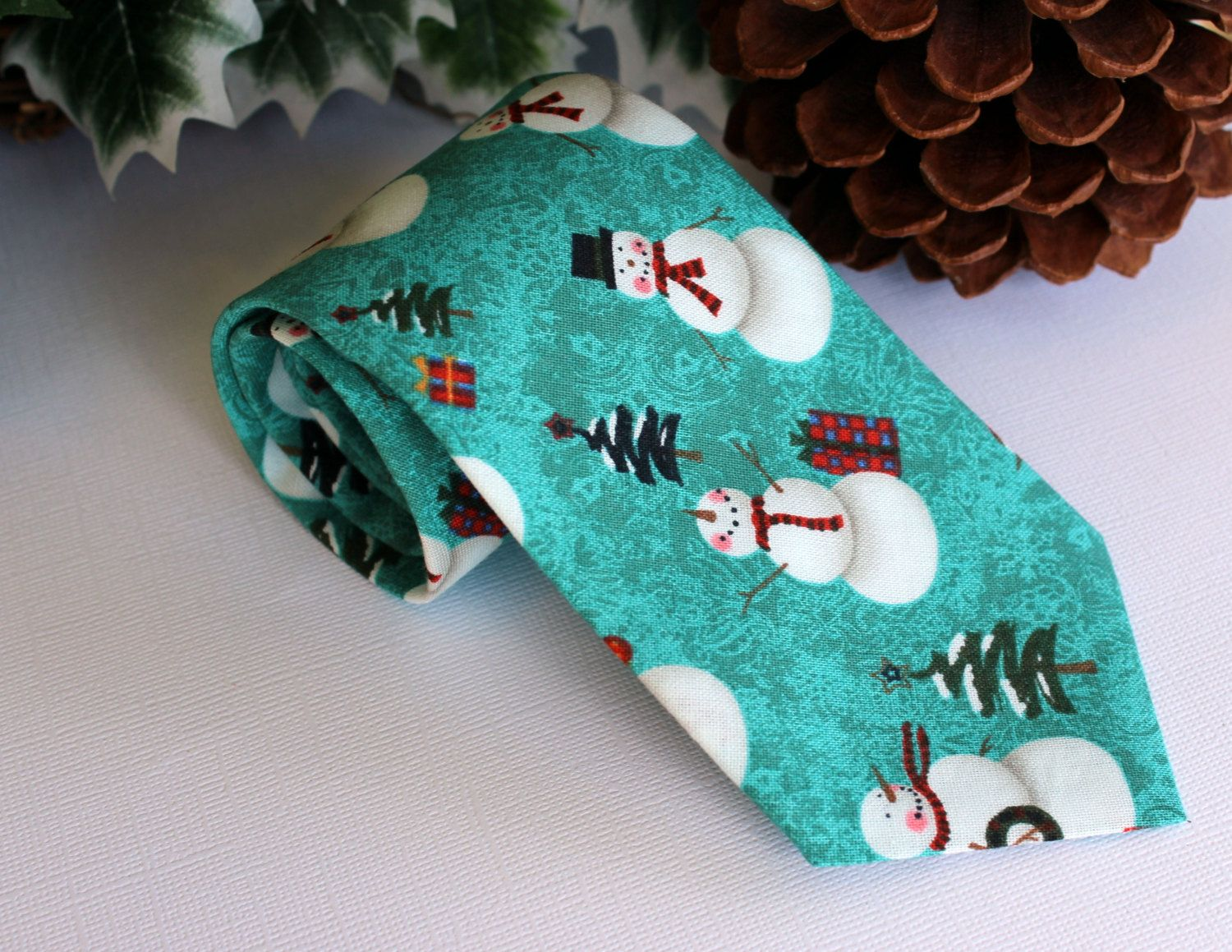 Mens Necktie - Winter Christmas Snowmen and Pine Trees on Blue-Green Cotton, Self-Tying Neck Tie for Men and Teens - pinned by pin4etsy.com