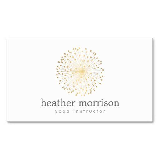 gold dandelion starburst logo on white business card natural