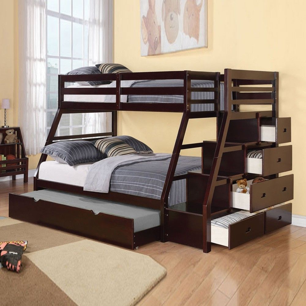 Jason Espresso Bunk Bed with Storage and Trundle 37015