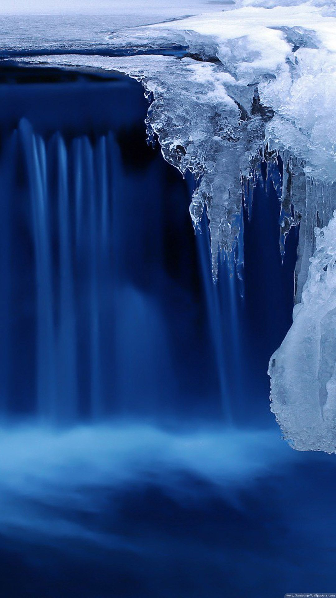 Crystal Ice Waterfall Blue Android Wallpaper Hd Nature Pinterest