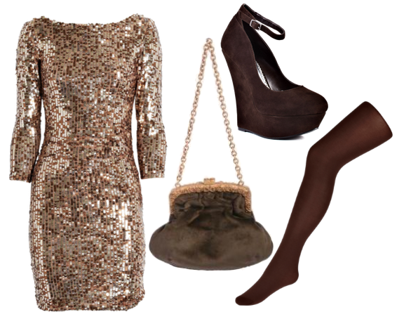 Different shoes and purse but love the sequin dress w tights ...