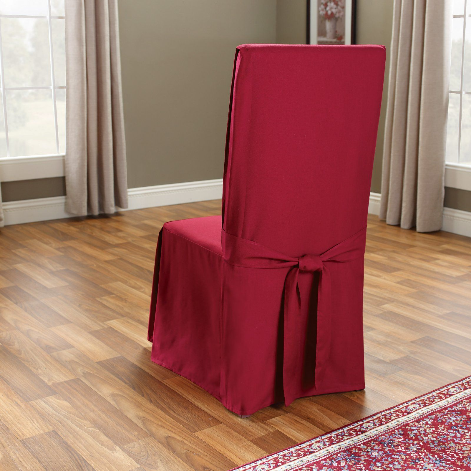 Fabulous Sure Fit Cotton Duck Long Dining Room Chair Cover Claret Cjindustries Chair Design For Home Cjindustriesco