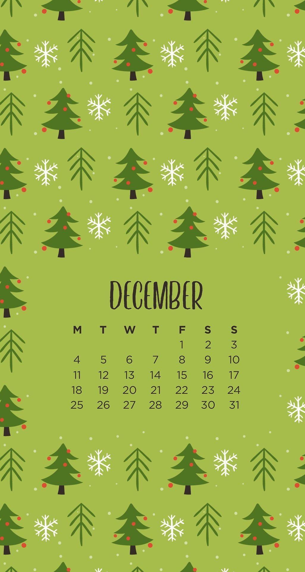 December Christmas Tree Patterned Phone Wallpapers By Emmastudies