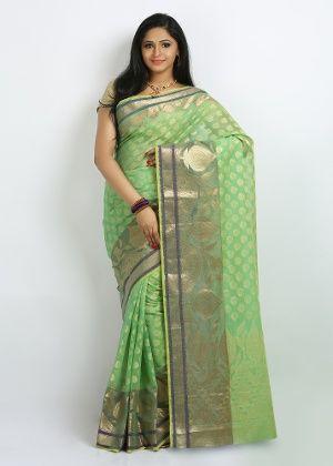 Bunkar Net Saree - Green