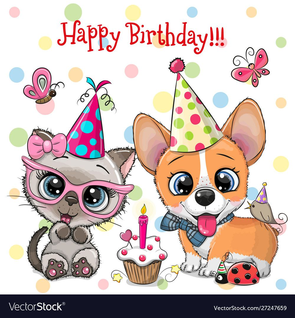 Cute Kitten And Puppy Owls With Balloon And Vector Image On Vectorstock Birthday Cartoon Happy Birthday Clip Art Happy Birthday Clip