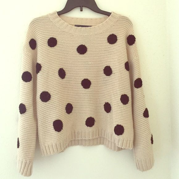 Cute cream and black polka-dot sweater! Adorable sweater from Lumière! Brand new. Sweaters Crew & Scoop Necks
