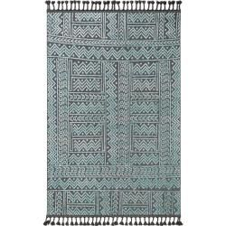 Photo of benuta short pile carpet Laila blue / black 80×150 cm – Modern carpet for living room benuta
