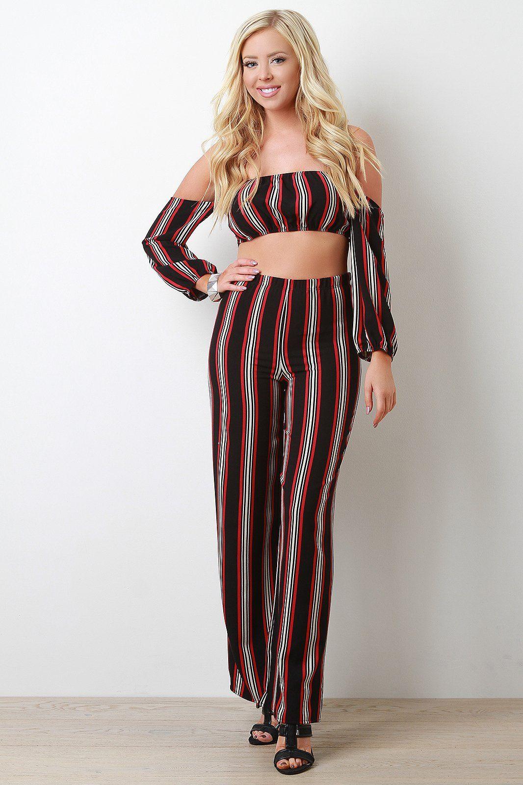Stripe Print Off Shoulder Crop Top With Palazzo Pants Set