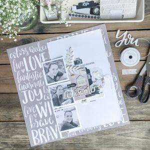 Monochromatic theme takes focus on a Pink Paislee scrapbook layout by Jamie Pate | @jamiepate for @pinkpaislee