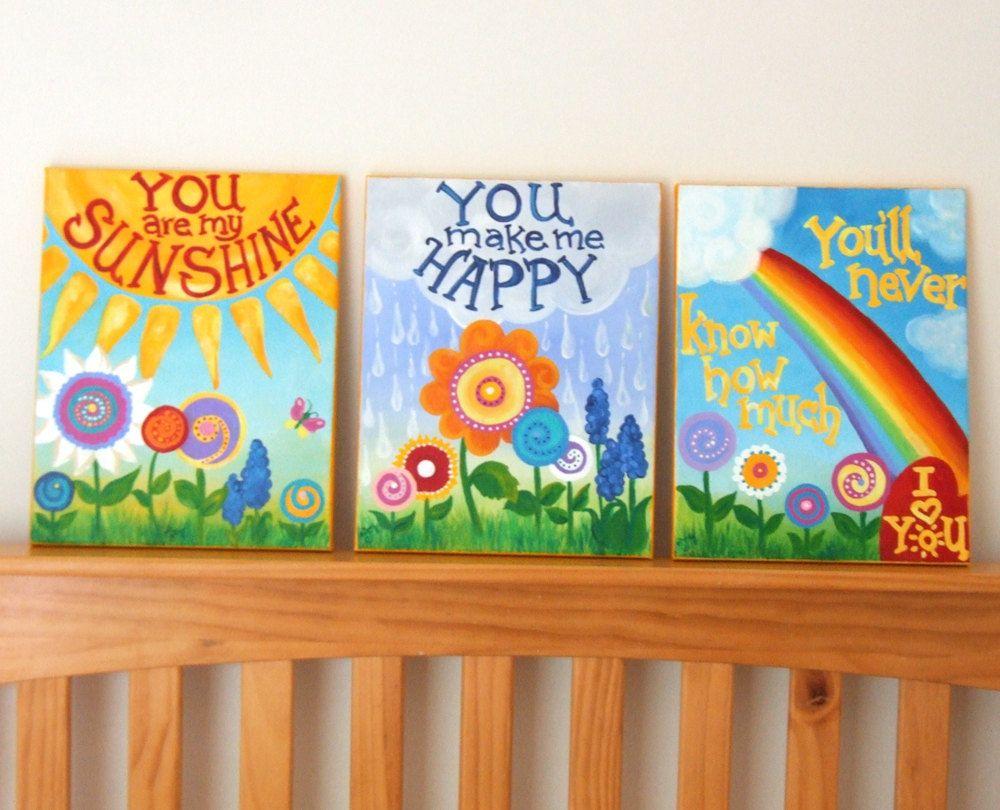 Custom Kids Wall Art You Are My Sunshine 11x14 Painting Set Of 3 Girls Nursery Art Art Wall Kids Nursery Art Girl Kids Room Paint