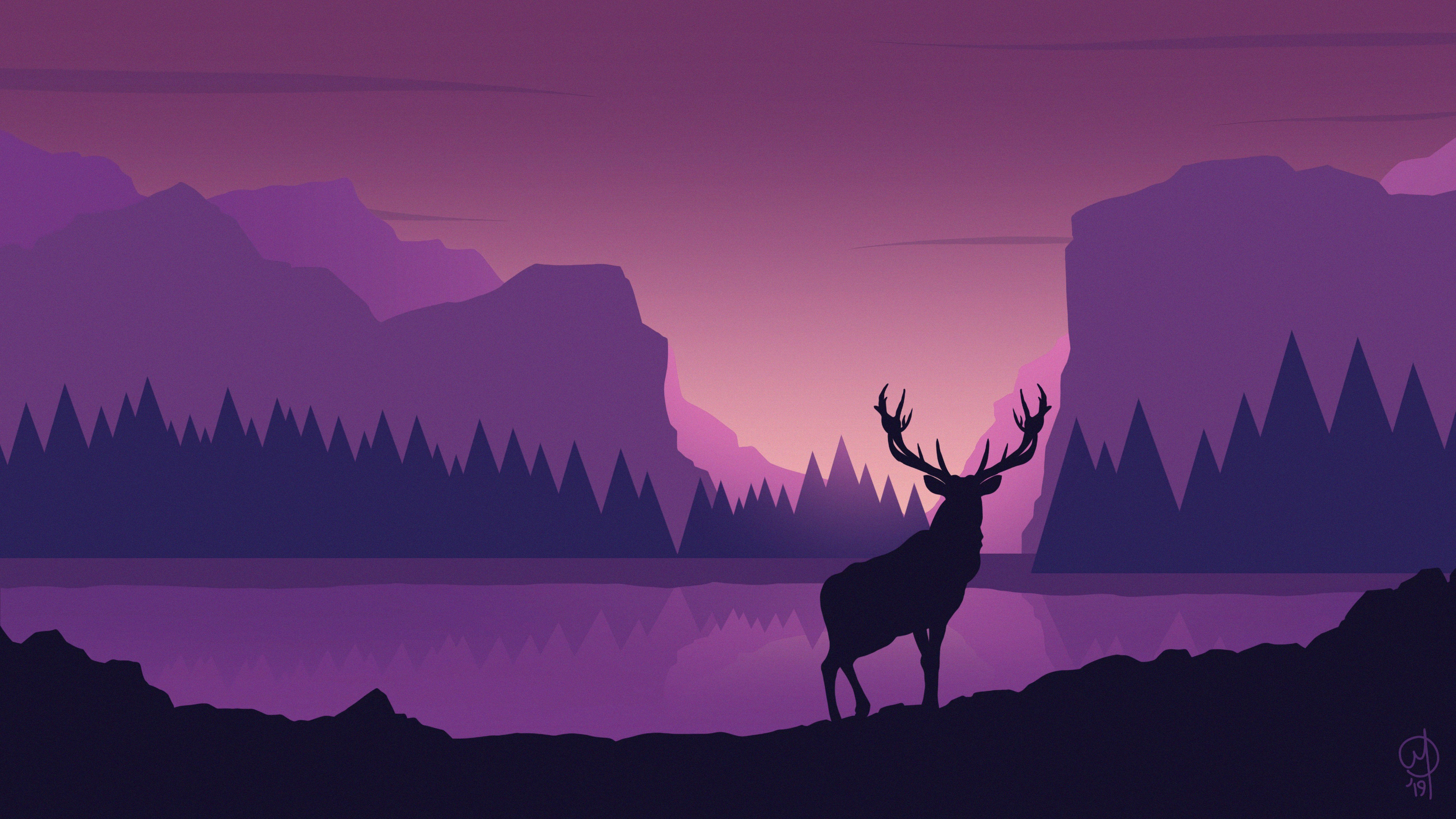 Download Wallpaper 6827x3840 Deer Art Vector Mountains