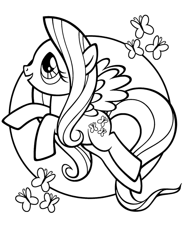 Printable Pony Coloring Pages : printable, coloring, pages, Fluttershy, Coloring, Print, Little, Coloring,, Butterfly, Page,, Pages