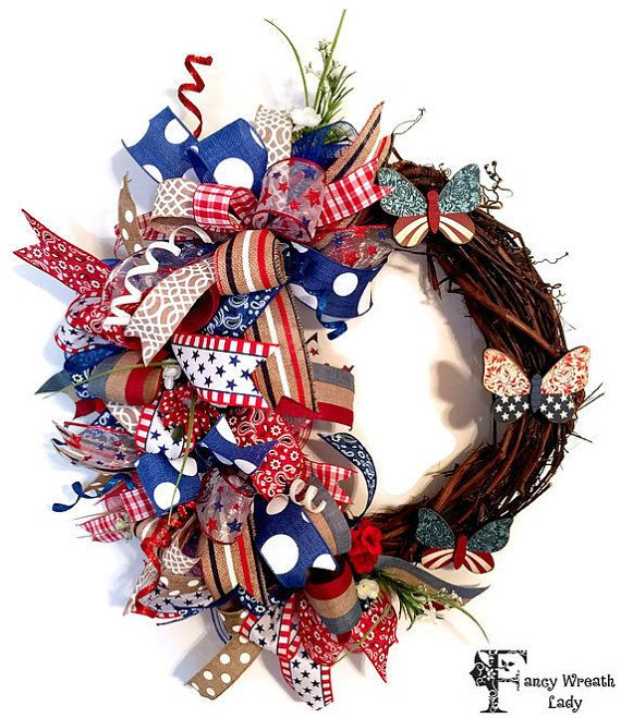 4th of July Grapevine Deco Mesh Ribbon Wreath by FancyWreathLady
