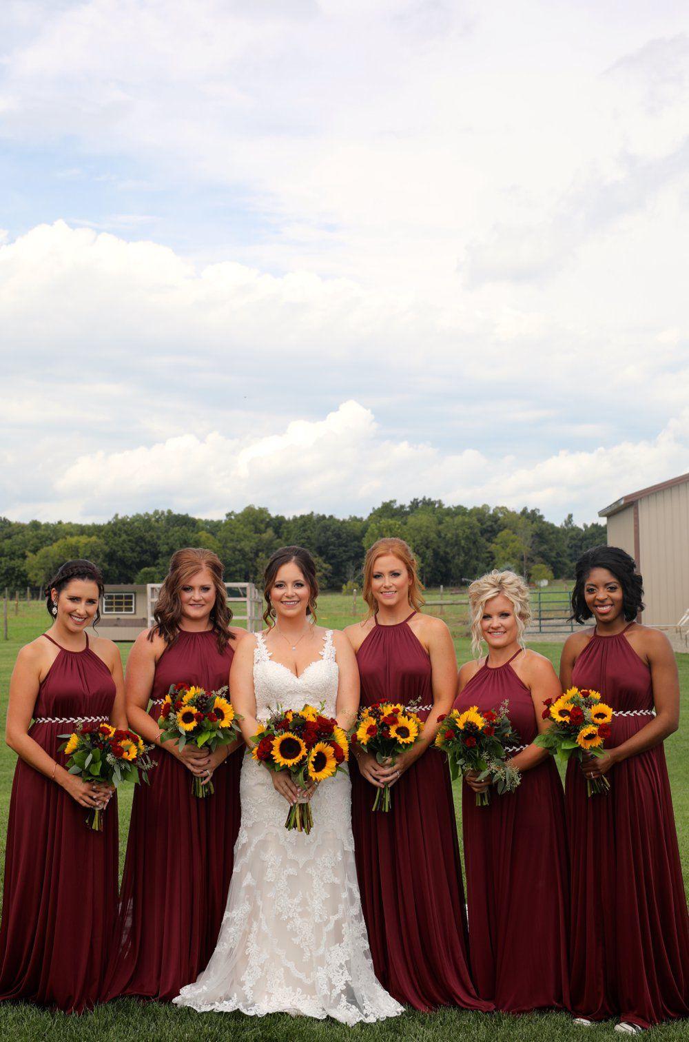 Rustic Glam Backyard Wedding On An 8k Budget Wine Bridesmaid Dresses Maroon Bridesmaid Dresses Maroon Bridesmaid,Wedding Dress Sample Sale Online Uk