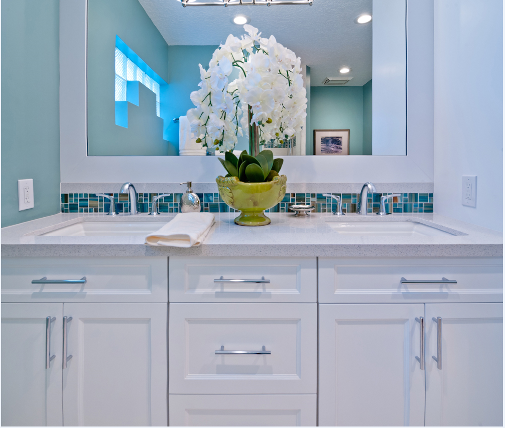 This spa like bathroom uses soft coastal inspired colors to complete ...