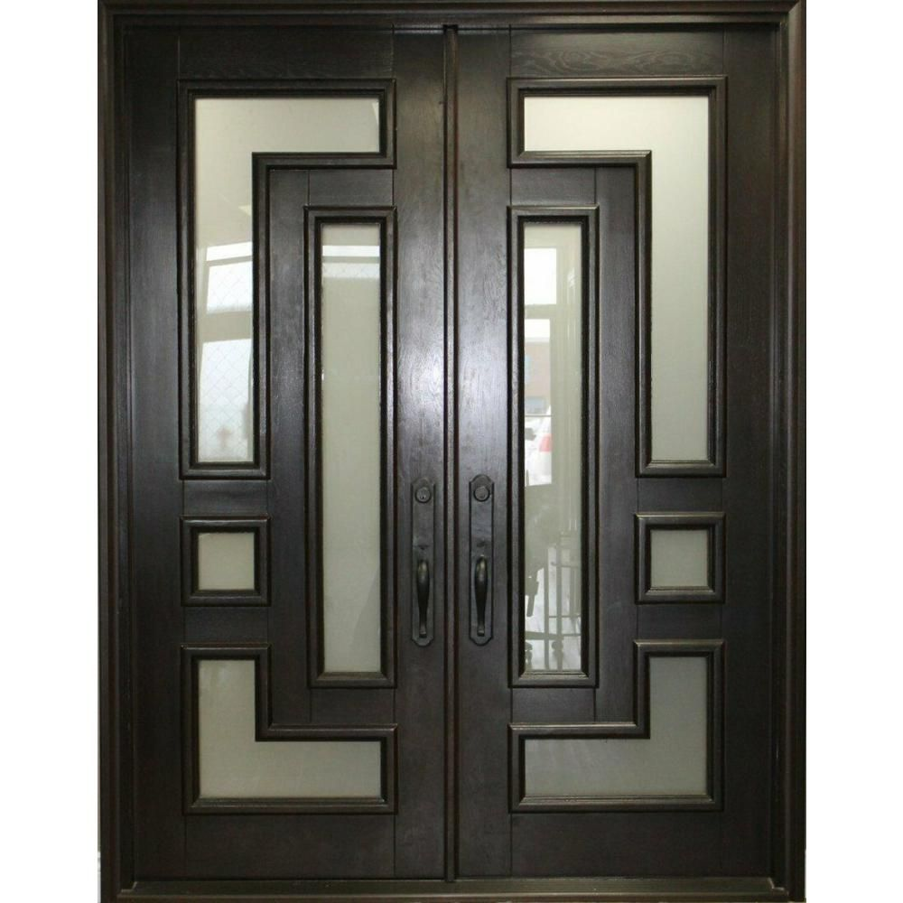 61 5 In X 81 In 2 Panel Right Hand Inswing Full Lite Frosted Glass Matte Black Finished Iron Prehung Front Door 010 Federal The Home Depot In 2020 Double Front Entry Doors Double Front Doors