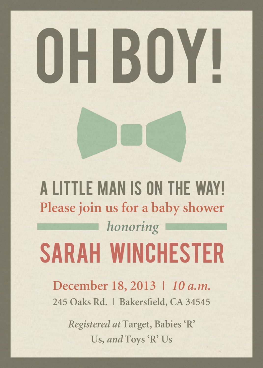 bow tie baby shower invitation digital file by