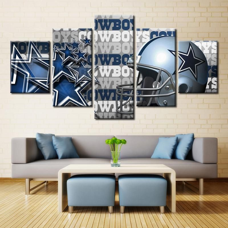 Dallas Cowboys Bedroom Decor: Dallas Cowboys Helmet NFL Football 5 Panel Canvas Wall Art