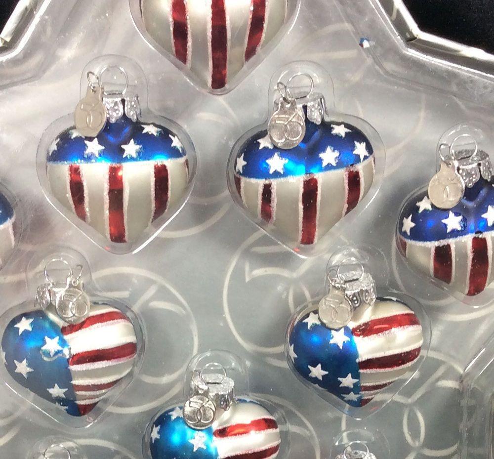 Americana christmas ornaments - 56 Heart Shaped Flag Mini Ornaments Set 10 July 4th Patriotic Americana