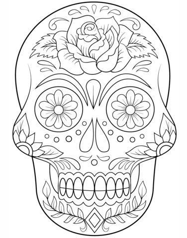 Zucker Schädel Mit Blumen Ausmalbild Halloween Pinterest