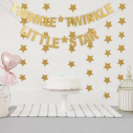 Twinkle Twinkle Little Star Party Banner Letter Banner Paper Glitter Banner