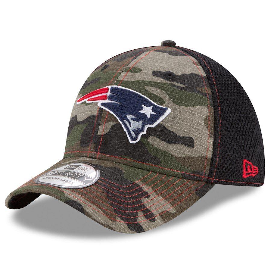 fa5f4aec41485 Men s New England Patriots New Era Camo Woodland Shock Stitch Neo 39THIRTY  Flex Hat