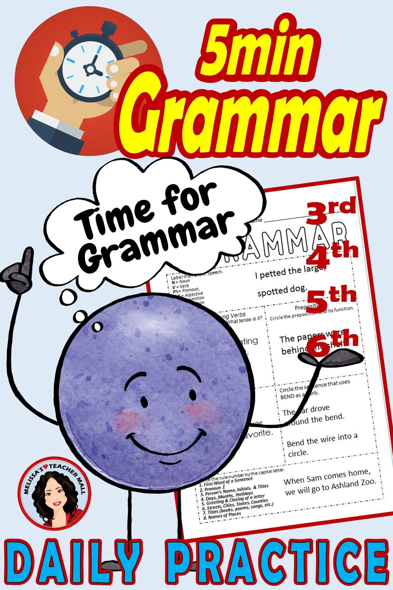 5 Minute Grammar Daily Grammar Worksheets 6th Grade