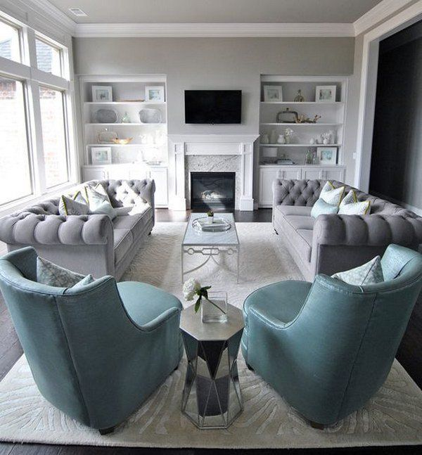 Living room layout emphasis on alignment or symmetry for Family room setup ideas