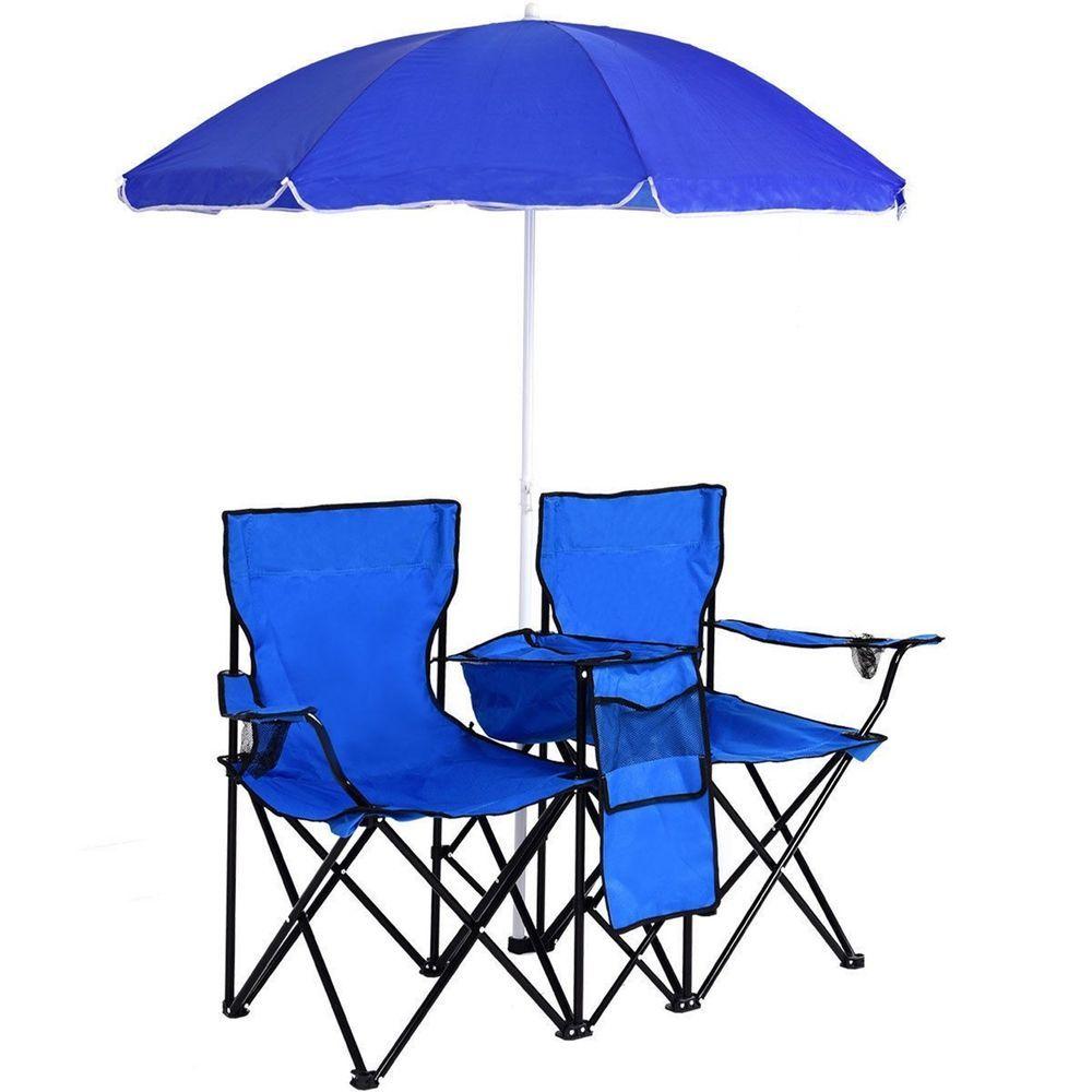 fishing chair umbrella holder covers for dining room chairs double folding picnic beach seat insulated blue doublefishingchair