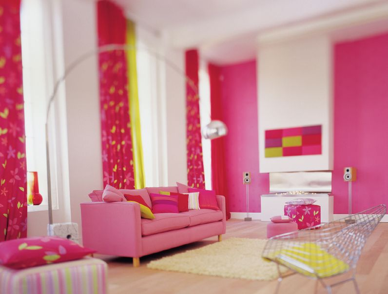 Colorful Home Decor Trends 2014   Pretty Living Room Pink Sofa Arch Lamp