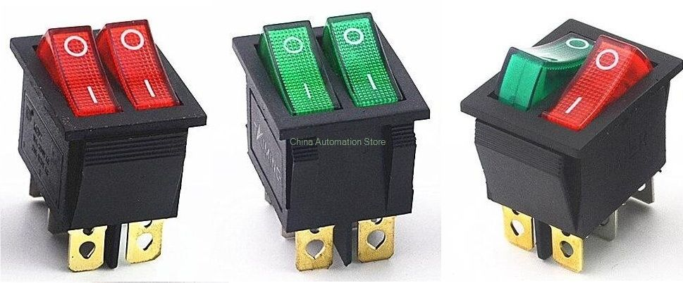 Kcd2 Double Boat Rocker Switch 6 Pin On Off With Green Red Light 20a 125vac Light Red Red Sign